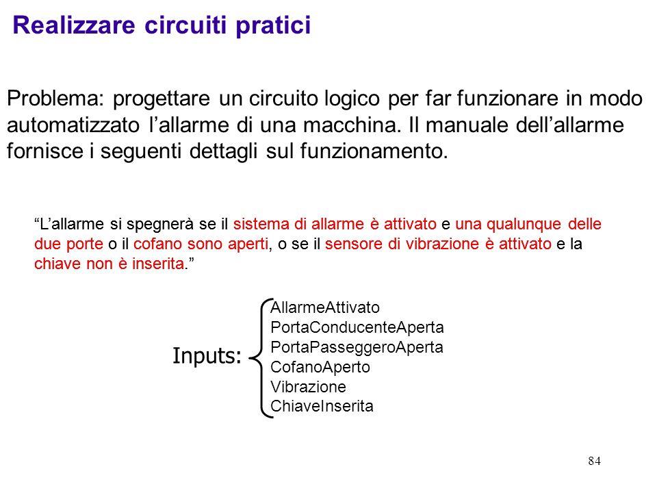 84 Problema: progettare un circuito logico per far funzionare in modo automatizzato lallarme di una macchina. Il manuale dellallarme fornisce i seguen