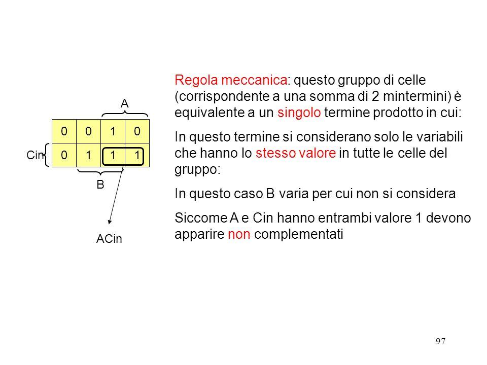 97 ACin A Cin B 0 0 001 11 1 Regola meccanica: questo gruppo di celle (corrispondente a una somma di 2 mintermini) è equivalente a un singolo termine