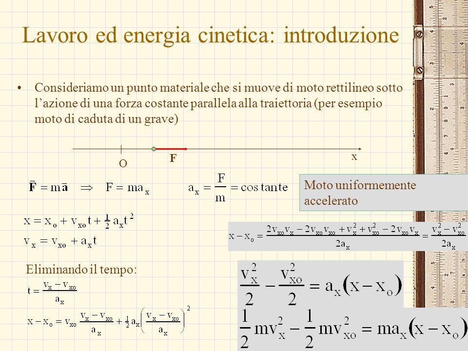 G.M. - Informatica B-Automazione 2002/03 Lavoro ed energia cinetica: introduzione Consideriamo un punto materiale che si muove di moto rettilineo sott