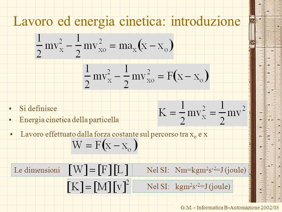 G.M. - Informatica B-Automazione 2002/03 Lavoro ed energia cinetica: introduzione Si definisce Energia cinetica della particella Le dimensioni Lavoro