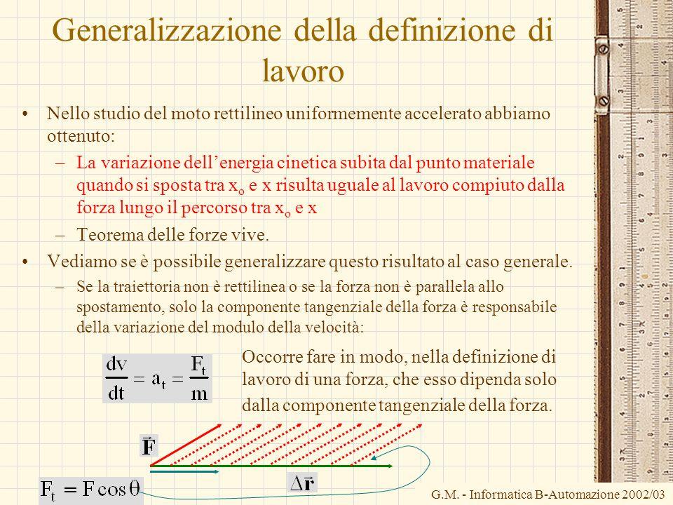 G.M. - Informatica B-Automazione 2002/03 Generalizzazione della definizione di lavoro Nello studio del moto rettilineo uniformemente accelerato abbiam