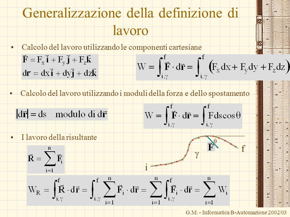 G.M. - Informatica B-Automazione 2002/03 Generalizzazione della definizione di lavoro Calcolo del lavoro utilizzando le componenti cartesiane i f Calc