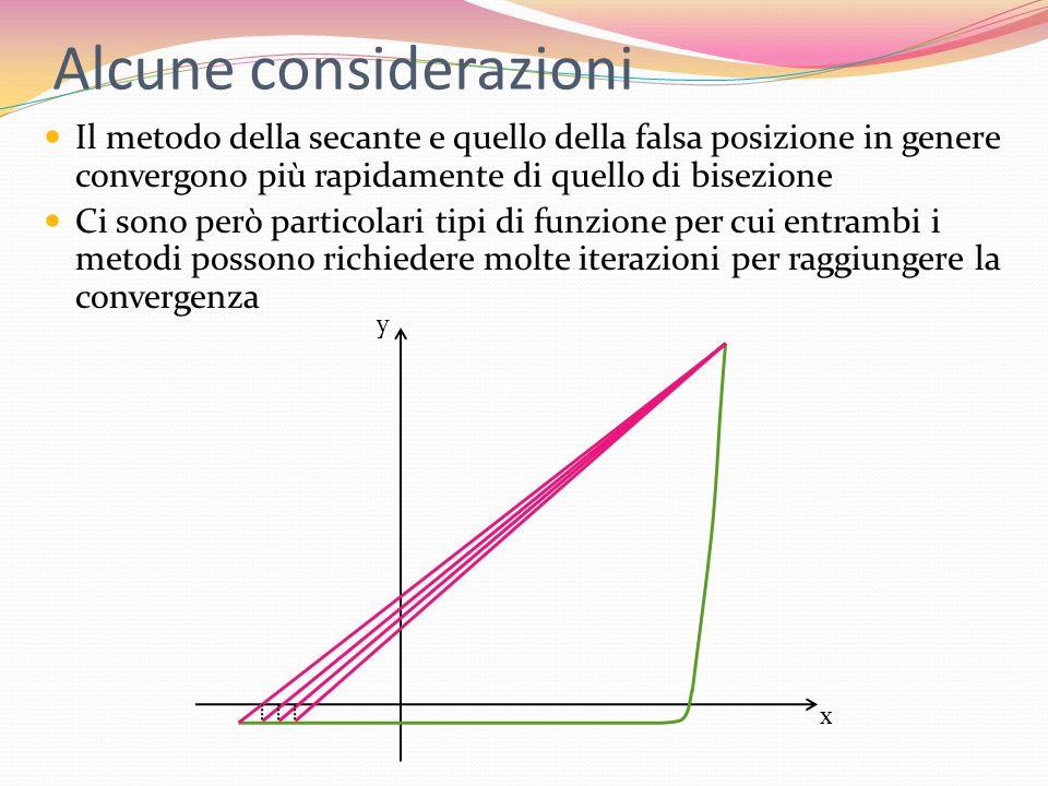 Alcune considerazioni Il metodo della secante e quello della falsa posizione in genere convergono più rapidamente di quello di bisezione Ci sono però