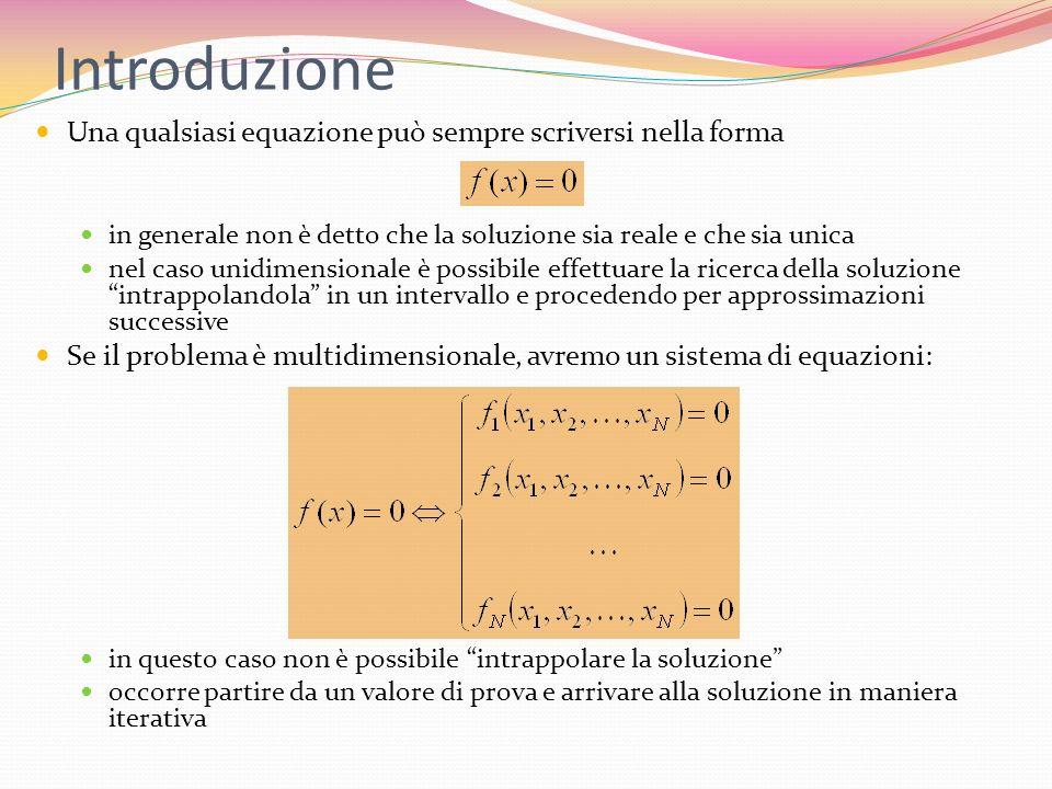 Intrappolamento (bracketing) Una radice dellequazione f(x)=0 è intrappolata (bracketed) nellintervallo [a,b] se f(a) e f(b) hanno segni opposti se f(x) è continua, allora nellintervallo (a,b) cè almeno una radice dellequazione (teorema del valor medio) se f(x) è discontinua ma limitata, invece di una radice potrebbe esserci una discontinuità a gradino attraverso lo zero se f(x) è discontinua e non limitata, potrebbe esserci una singolarità in questo caso, un algoritmo di ricerca delle radici potrebbe convergere proprio alla singolarità