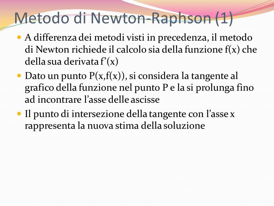 Metodo di Newton-Raphson (1) A differenza dei metodi visti in precedenza, il metodo di Newton richiede il calcolo sia della funzione f(x) che della su