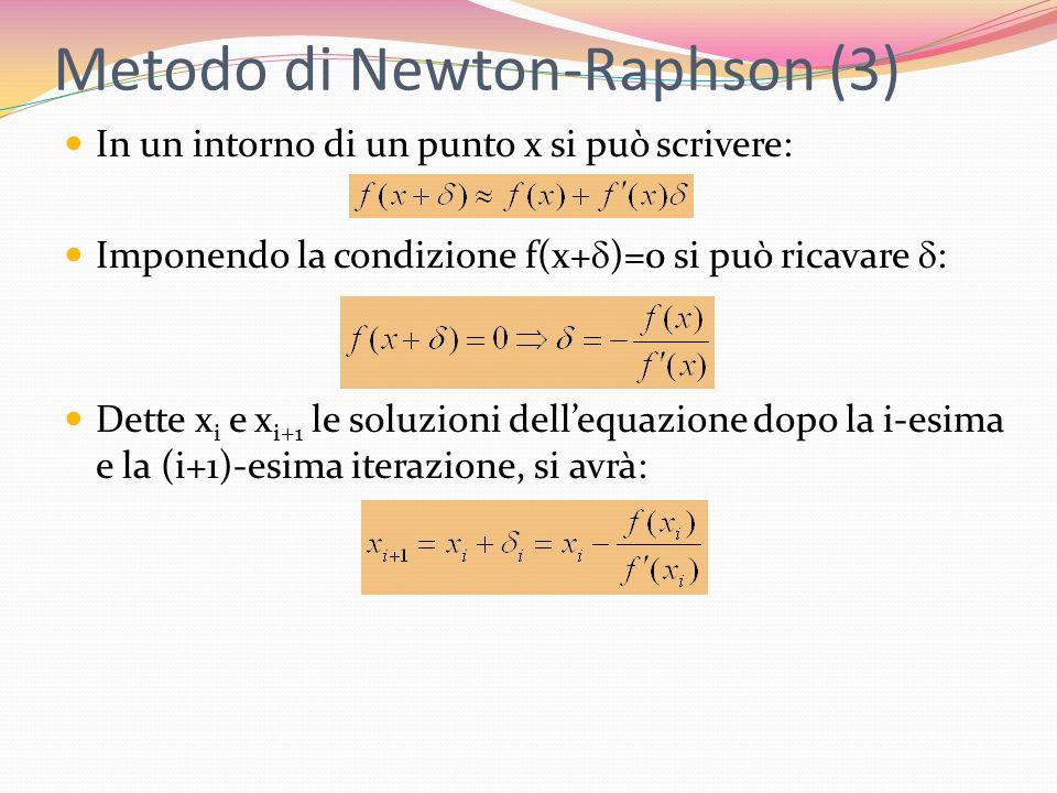 Metodo di Newton-Raphson (3) In un intorno di un punto x si può scrivere: Imponendo la condizione f(x+ )=0 si può ricavare : Dette x i e x i+1 le solu