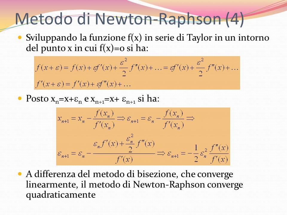 Metodo di Newton-Raphson (4) Sviluppando la funzione f(x) in serie di Taylor in un intorno del punto x in cui f(x)=0 si ha: Posto x n =x+ n e x n+1 =x
