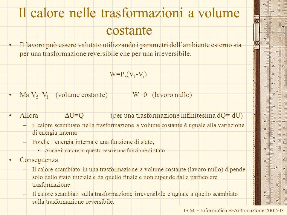 G.M. - Informatica B-Automazione 2002/03 Il calore nelle trasformazioni a volume costante Il lavoro può essere valutato utilizzando i parametri dellam