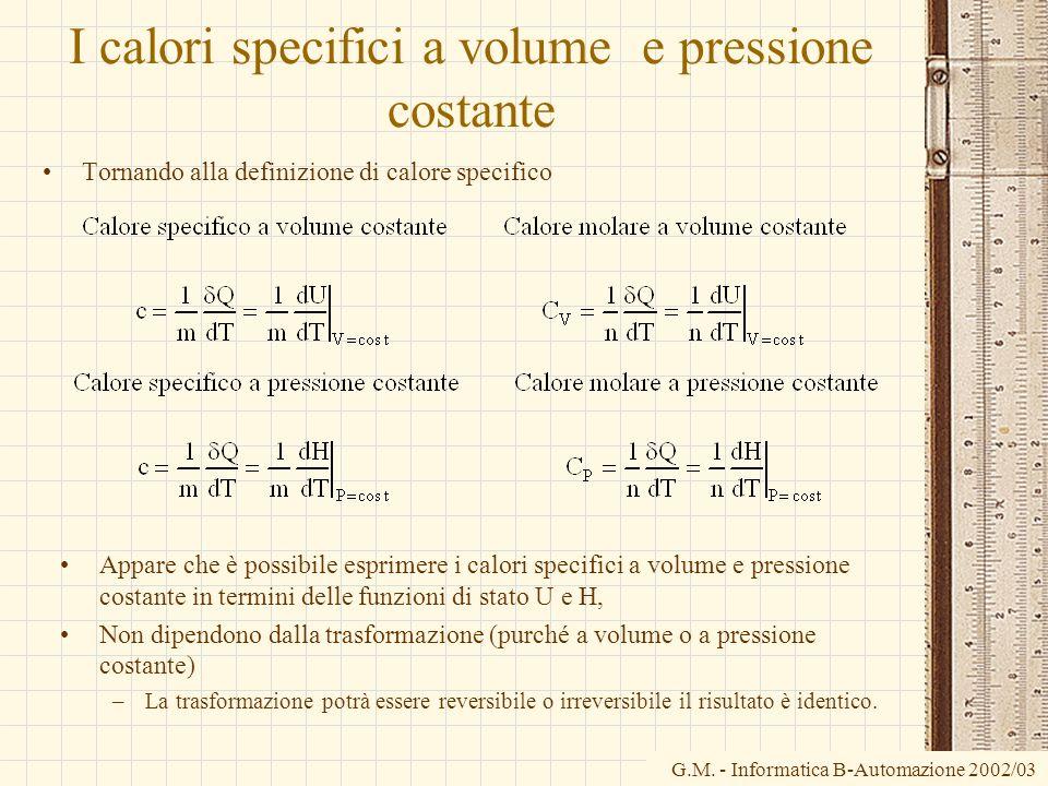 G.M. - Informatica B-Automazione 2002/03 I calori specifici a volume e pressione costante Tornando alla definizione di calore specifico Appare che è p
