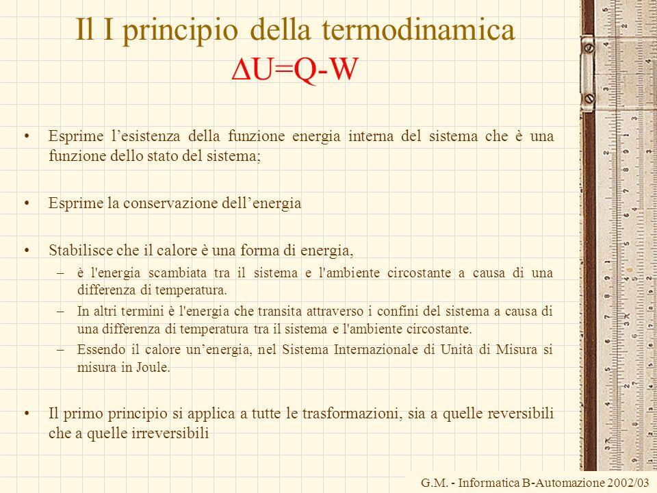G.M. - Informatica B-Automazione 2002/03 Il I principio della termodinamica U=Q-W Esprime lesistenza della funzione energia interna del sistema che è