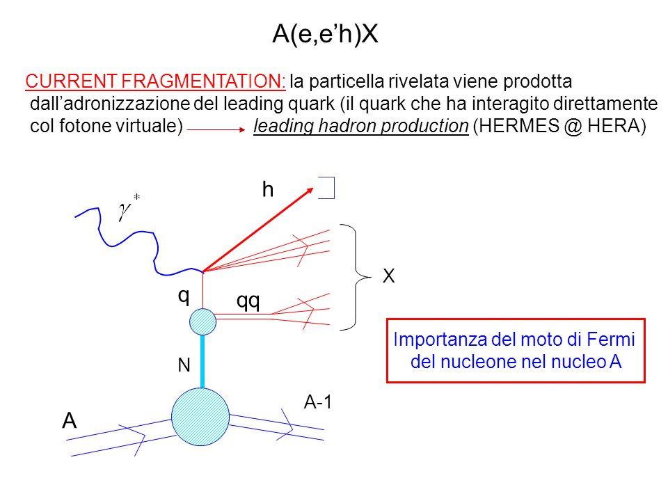 CURRENT FRAGMENTATION: la particella rivelata viene prodotta dalladronizzazione del leading quark (il quark che ha interagito direttamente col fotone