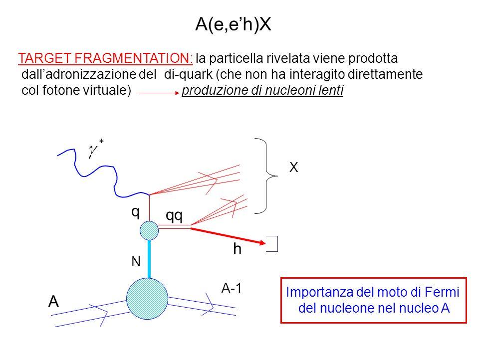 TARGET FRAGMENTATION: la particella rivelata viene prodotta dalladronizzazione del di-quark (che non ha interagito direttamente col fotone virtuale) produzione di nucleoni lenti Importanza del moto di Fermi del nucleone nel nucleo A A h q qq A-1 N X A(e,eh)X