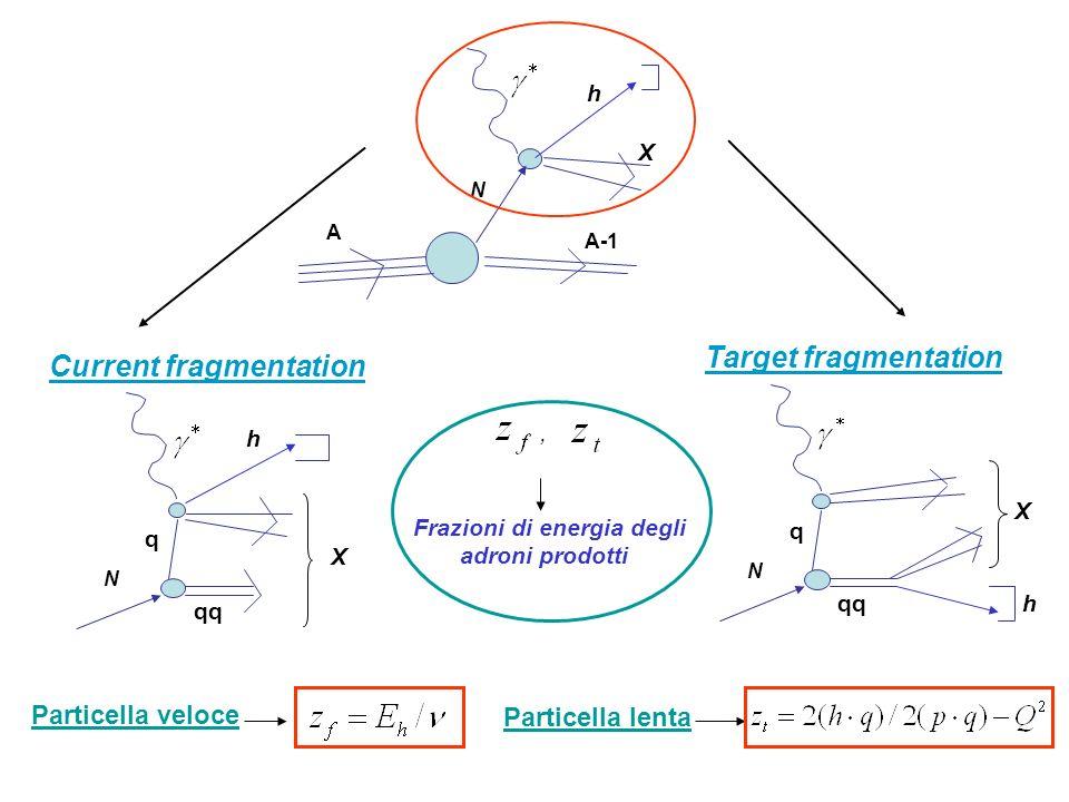 Particella veloce Particella lenta, Frazioni di energia degli adroni prodotti X N h A A-1 Current fragmentation X N h q qq Target fragmentation N q qq