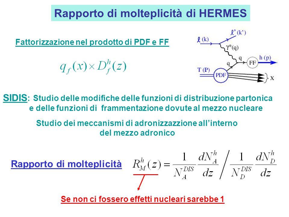 Rapporto di molteplicità di HERMES Fattorizzazione nel prodotto di PDF e FF Rapporto di molteplicità Se non ci fossero effetti nucleari sarebbe 1 SIDIS : Studio delle modifiche delle funzioni di distribuzione partonica e delle funzioni di frammentazione dovute al mezzo nucleare Studio dei meccanismi di adronizzazzione allinterno del mezzo adronico