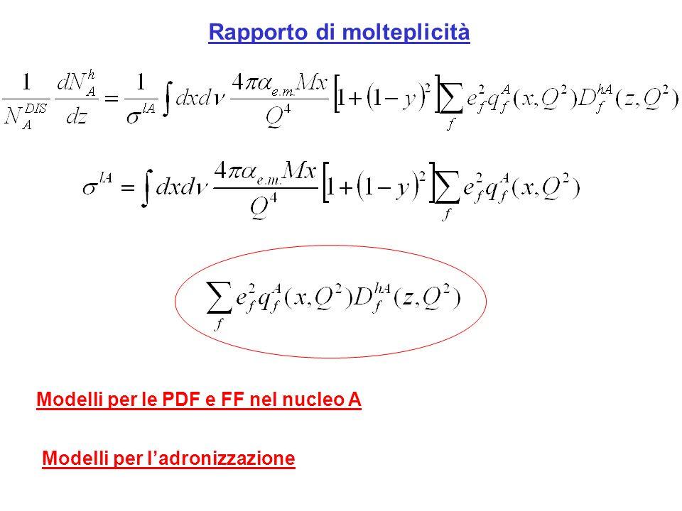 Rapporto di molteplicità Modelli per le PDF e FF nel nucleo A Modelli per ladronizzazione