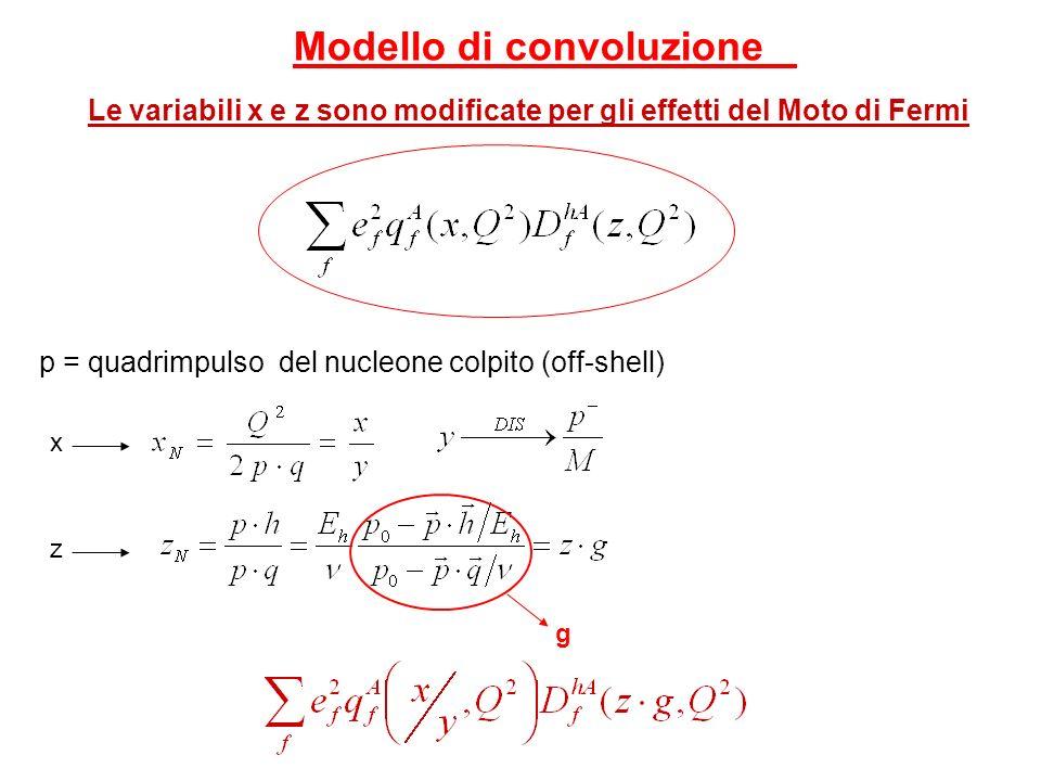 Modello di convoluzione Le variabili x e z sono modificate per gli effetti del Moto di Fermi p = quadrimpulso del nucleone colpito (off-shell) x z g