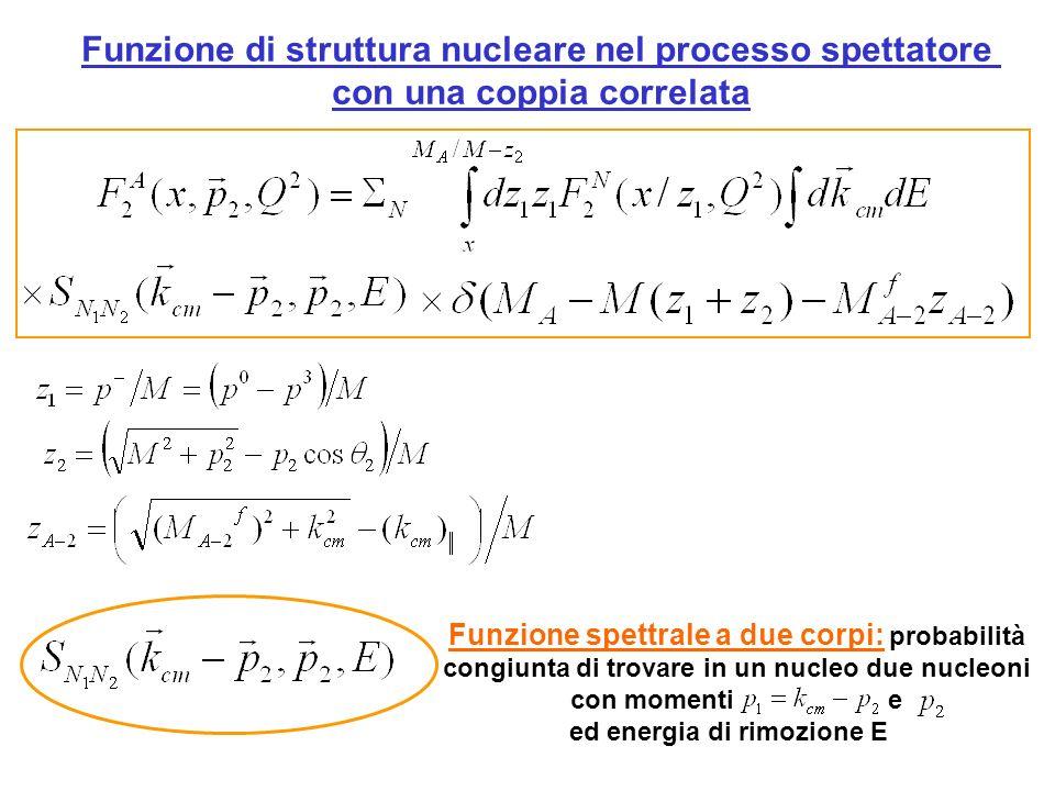 Funzione di struttura nucleare nel processo spettatore con una coppia correlata Funzione spettrale a due corpi: probabilità congiunta di trovare in un nucleo due nucleoni con momenti e ed energia di rimozione E