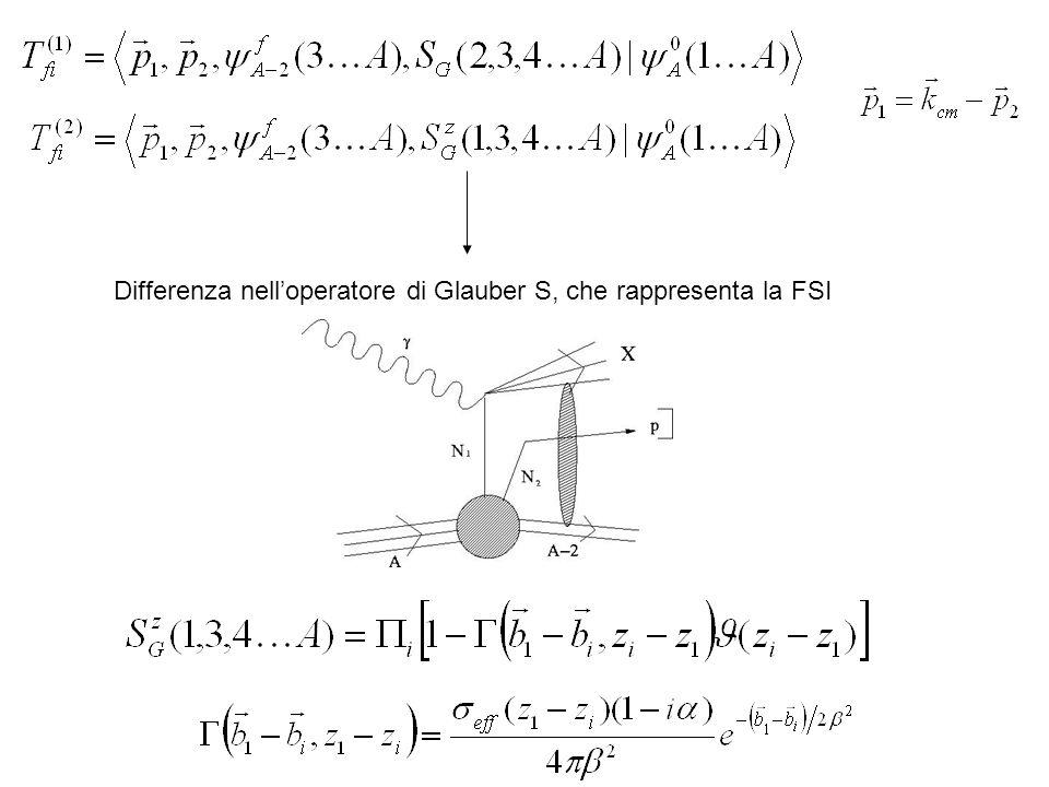 Differenza nelloperatore di Glauber S, che rappresenta la FSI