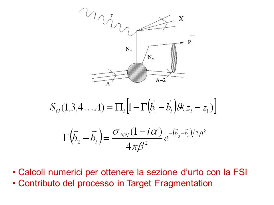 Calcoli numerici per ottenere la sezione durto con la FSI Contributo del processo in Target Fragmentation