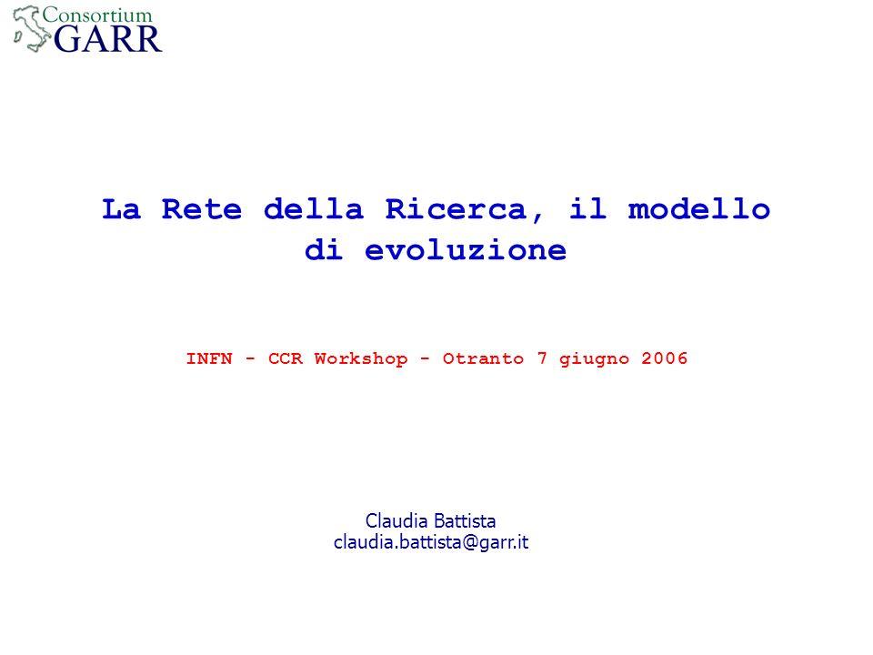 La Rete della Ricerca, il modello di evoluzione INFN - CCR Workshop - Otranto 7 giugno 2006 Claudia Battista claudia.battista@garr.it