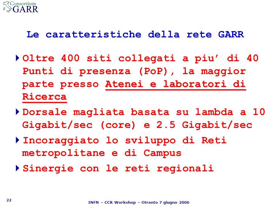 22 INFN – CCR Workshop – Otranto 7 giugno 2006 Le caratteristiche della rete GARR Atenei e laboratori di Ricerca Oltre 400 siti collegati a piu di 40 Punti di presenza (PoP), la maggior parte presso Atenei e laboratori di Ricerca Dorsale magliata basata su lambda a 10 Gigabit/sec (core) e 2.5 Gigabit/sec Incoraggiato lo sviluppo di Reti metropolitane e di Campus Sinergie con le reti regionali