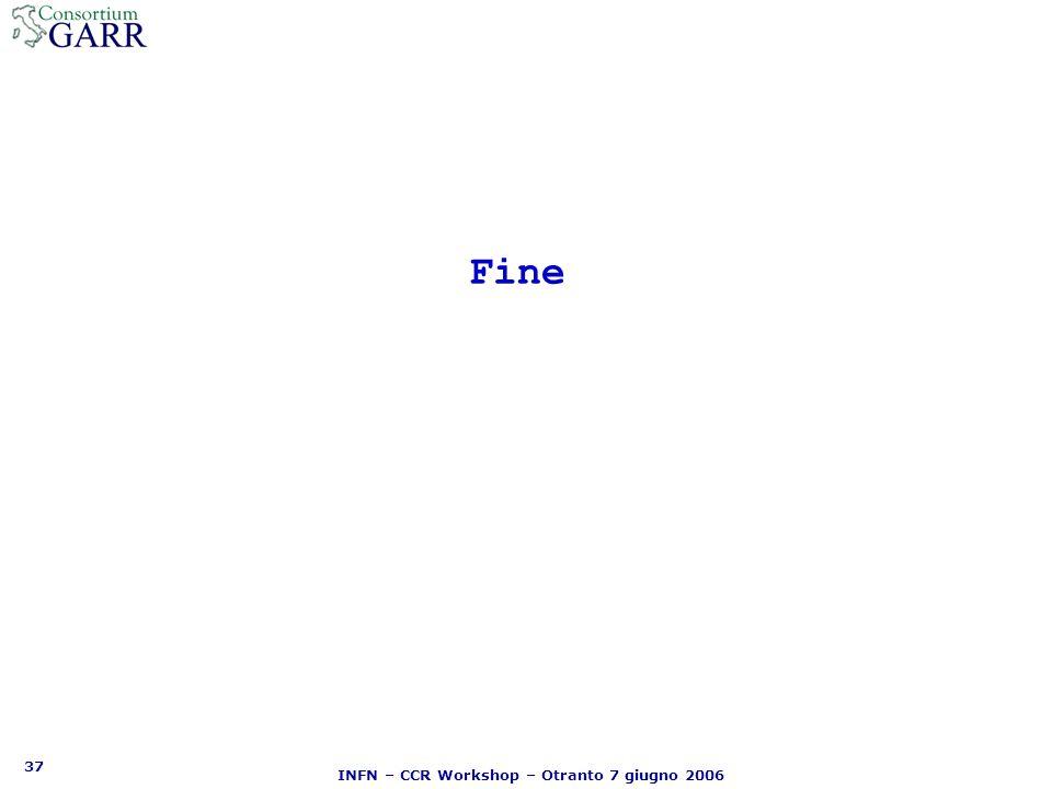 37 INFN – CCR Workshop – Otranto 7 giugno 2006 Fine