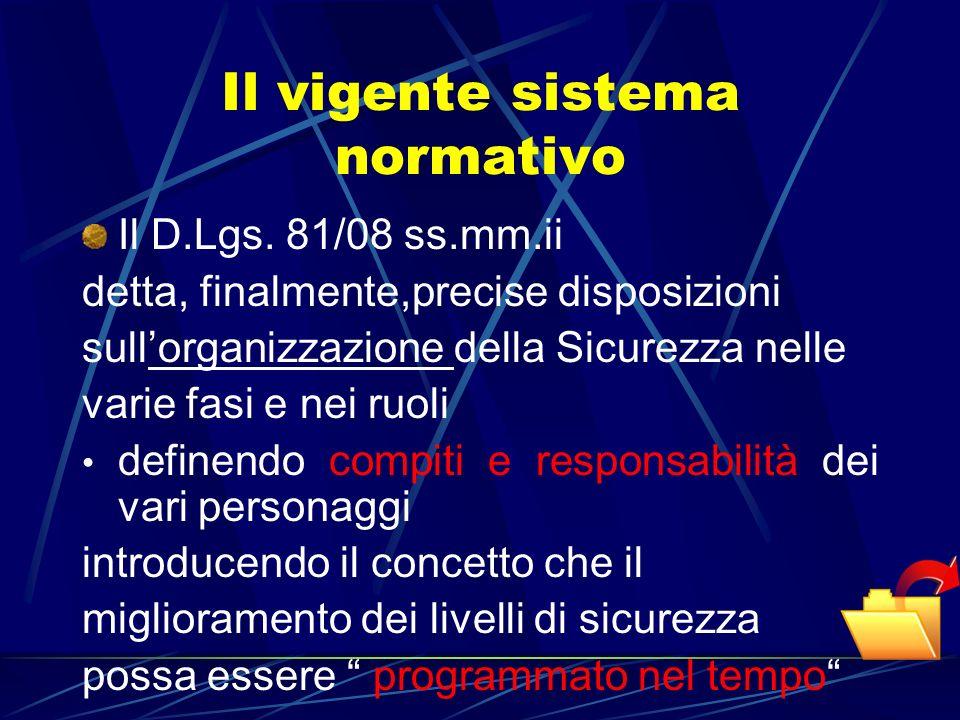 Il vigente sistema normativo Il D.Lgs. 81/08 ss.mm.ii detta, finalmente,precise disposizioni sullorganizzazione della Sicurezza nelle varie fasi e nei