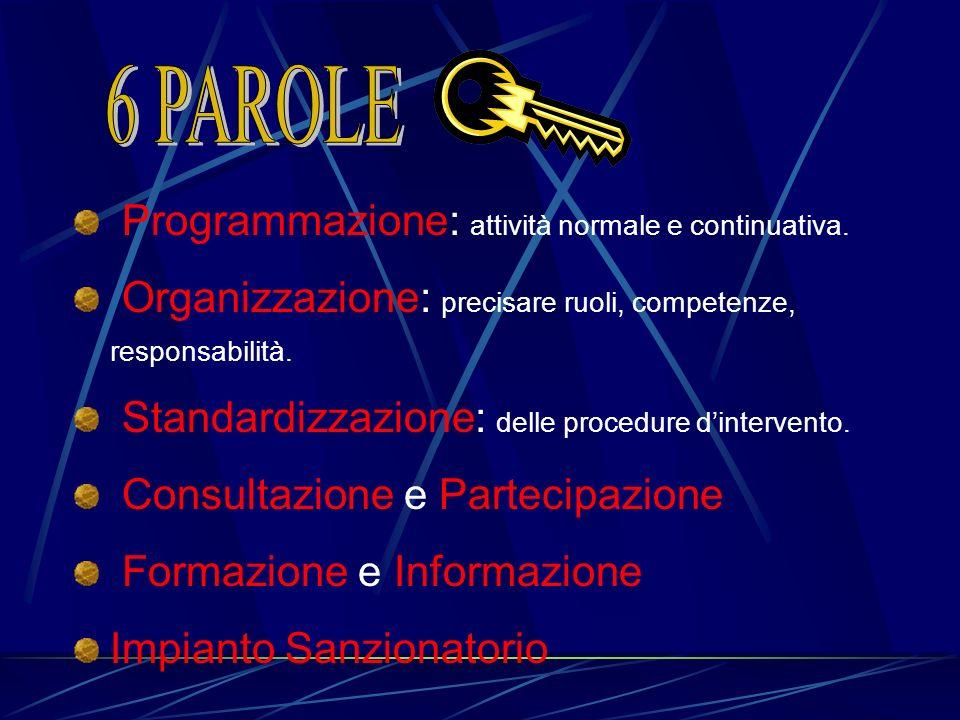 Programmazione: attività normale e continuativa. Organizzazione: precisare ruoli, competenze, responsabilità. Standardizzazione: delle procedure dinte