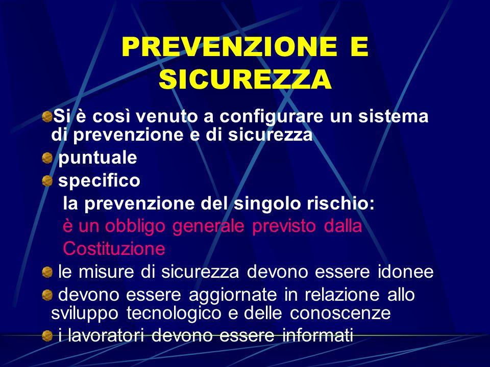 PREVENZIONE E SICUREZZA Si è così venuto a configurare un sistema di prevenzione e di sicurezza puntuale specifico la prevenzione del singolo rischio: