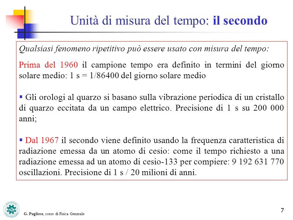 G. Pugliese, corso di Fisica Generale 7 Unità di misura del tempo: il secondo Qualsiasi fenomeno ripetitivo può essere usato con misura del tempo: Pri