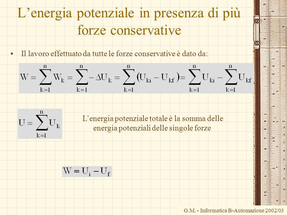 G.M. - Informatica B-Automazione 2002/03 Lenergia potenziale in presenza di più forze conservative Il lavoro effettuato da tutte le forze conservative