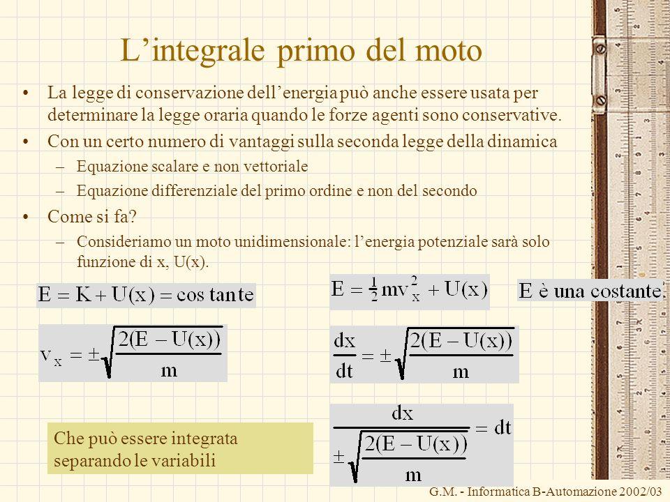 G.M. - Informatica B-Automazione 2002/03 Lintegrale primo del moto La legge di conservazione dellenergia può anche essere usata per determinare la leg