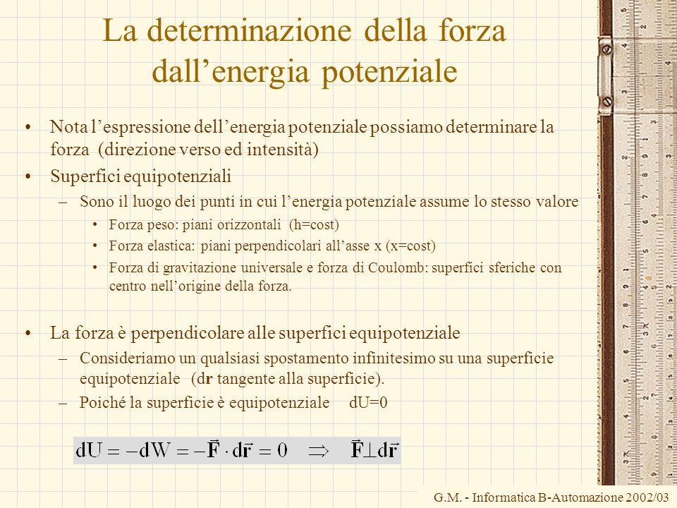 G.M. - Informatica B-Automazione 2002/03 La determinazione della forza dallenergia potenziale Nota lespressione dellenergia potenziale possiamo determ