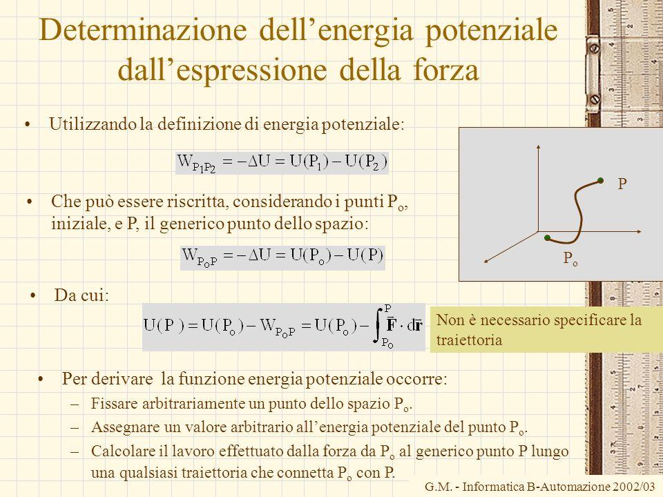 G.M. - Informatica B-Automazione 2002/03 Determinazione dellenergia potenziale dallespressione della forza Utilizzando la definizione di energia poten