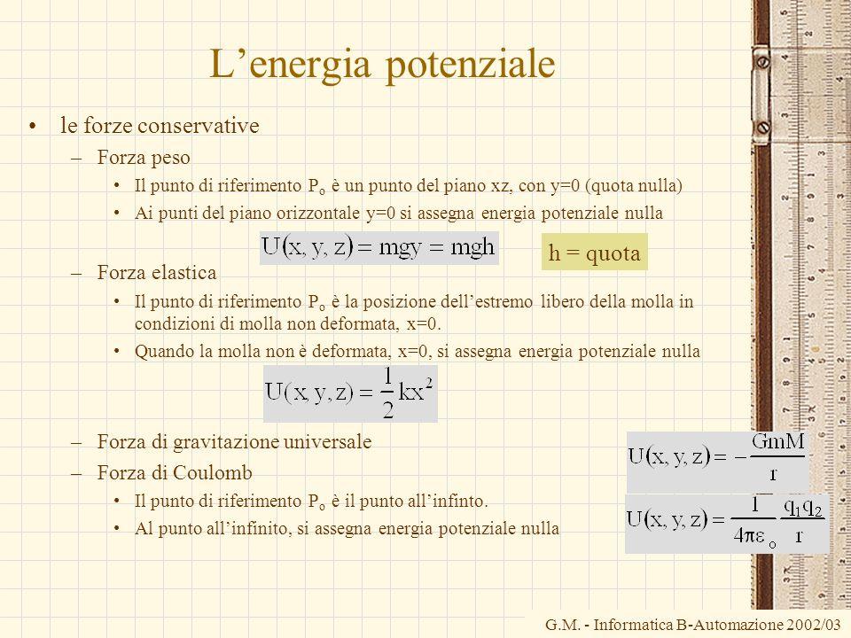 G.M. - Informatica B-Automazione 2002/03 Lenergia potenziale le forze conservative –Forza peso Il punto di riferimento P o è un punto del piano xz, co