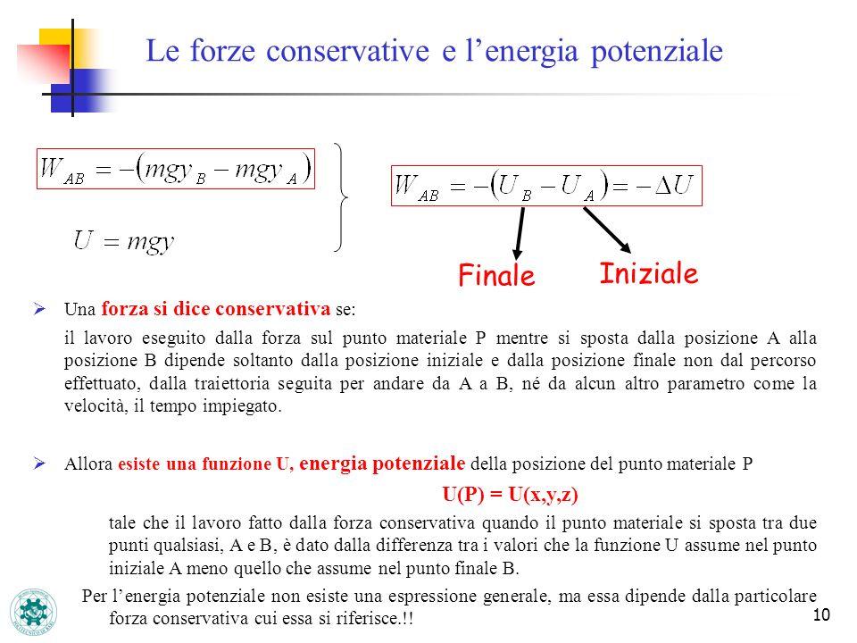 10 Finale Iniziale Una forza si dice conservativa se: il lavoro eseguito dalla forza sul punto materiale P mentre si sposta dalla posizione A alla pos