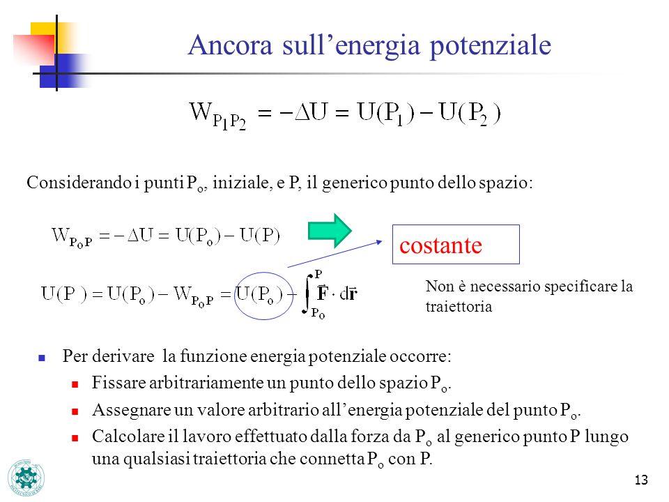 13 Ancora sullenergia potenziale Considerando i punti P o, iniziale, e P, il generico punto dello spazio: Per derivare la funzione energia potenziale