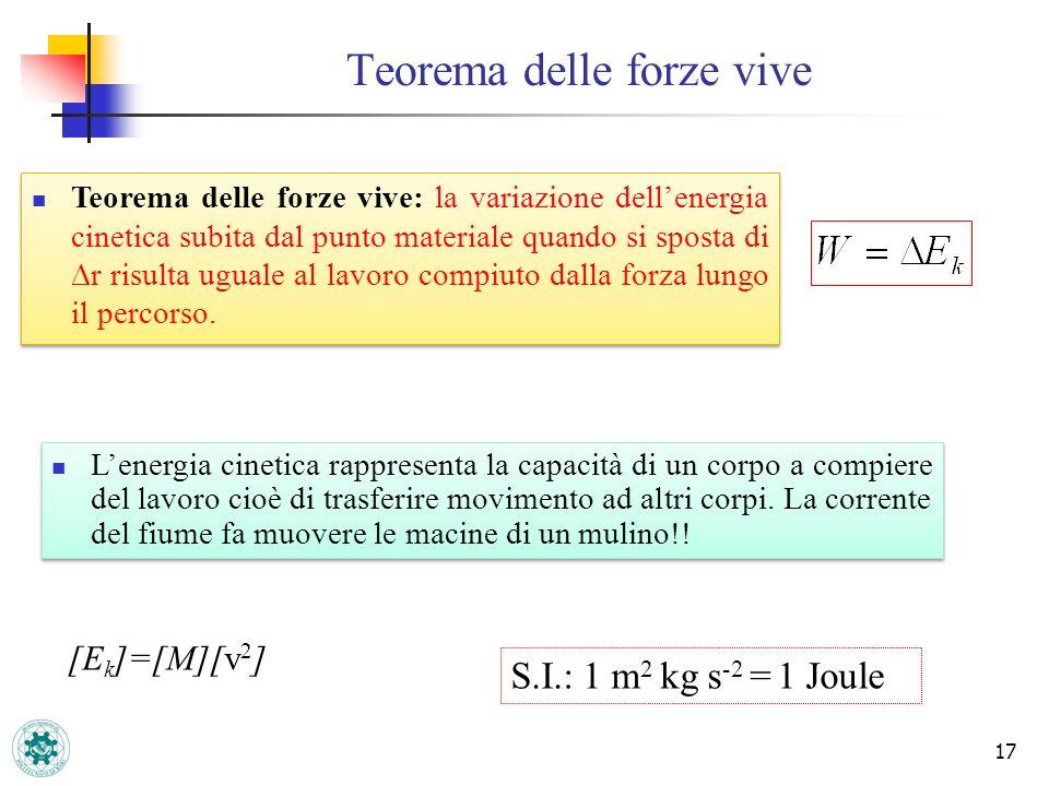 Teorema delle forze vive 17 [E k ]=[M][v 2 ] S.I.: 1 m 2 kg s -2 = 1 Joule Teorema delle forze vive: la variazione dellenergia cinetica subita dal pun