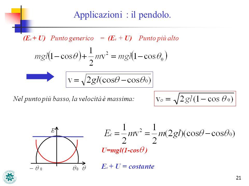 21 (E c + U)Punto generico = (E c + U) Punto più alto Nel punto più basso, la velocità è massima: U=mgl(1-cos ) E c + U = costante Applicazioni : il p
