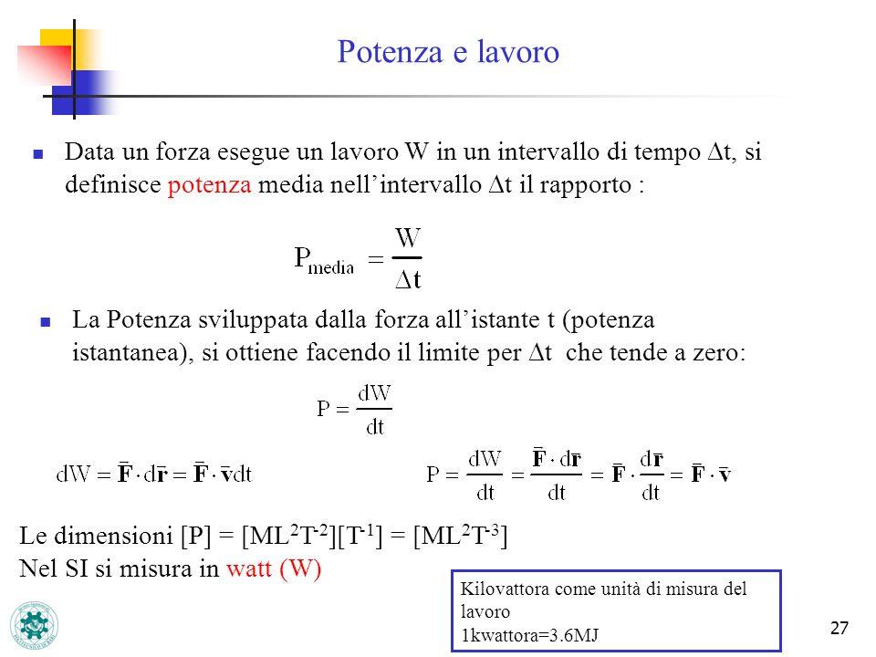 27 Data un forza esegue un lavoro W in un intervallo di tempo t, si definisce potenza media nellintervallo t il rapporto : La Potenza sviluppata dalla