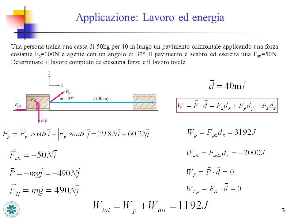 3 Applicazione: Lavoro ed energia Una persona traina una cassa di 50kg per 40 m lungo un pavimento orizzontale applicando una forza costante F p =100N