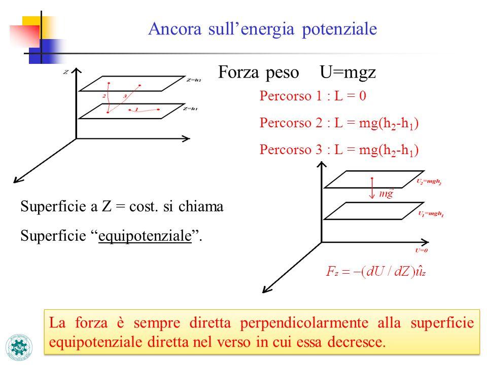 Forza peso U=mgz Percorso 1 : L = 0 Percorso 2 : L = mg(h 2 -h 1 ) Percorso 3 : L = mg(h 2 -h 1 ) Superficie a Z = cost. si chiama Superficie equipote