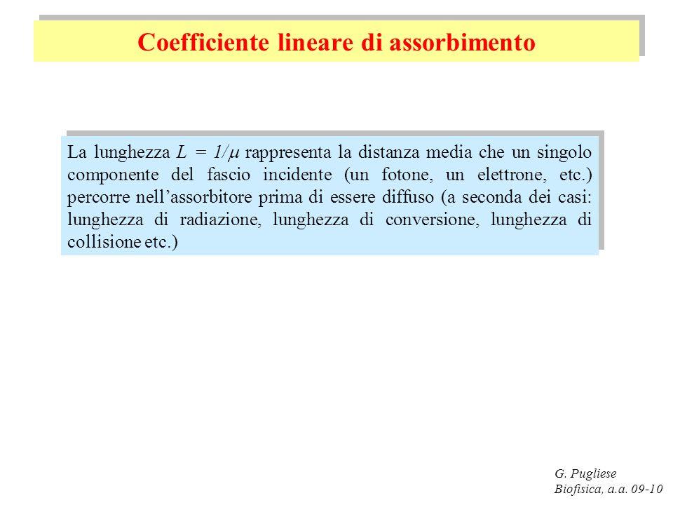 G. Pugliese Biofisica, a.a. 09-10 Coefficiente lineare di assorbimento La lunghezza L = 1/ rappresenta la distanza media che un singolo componente del