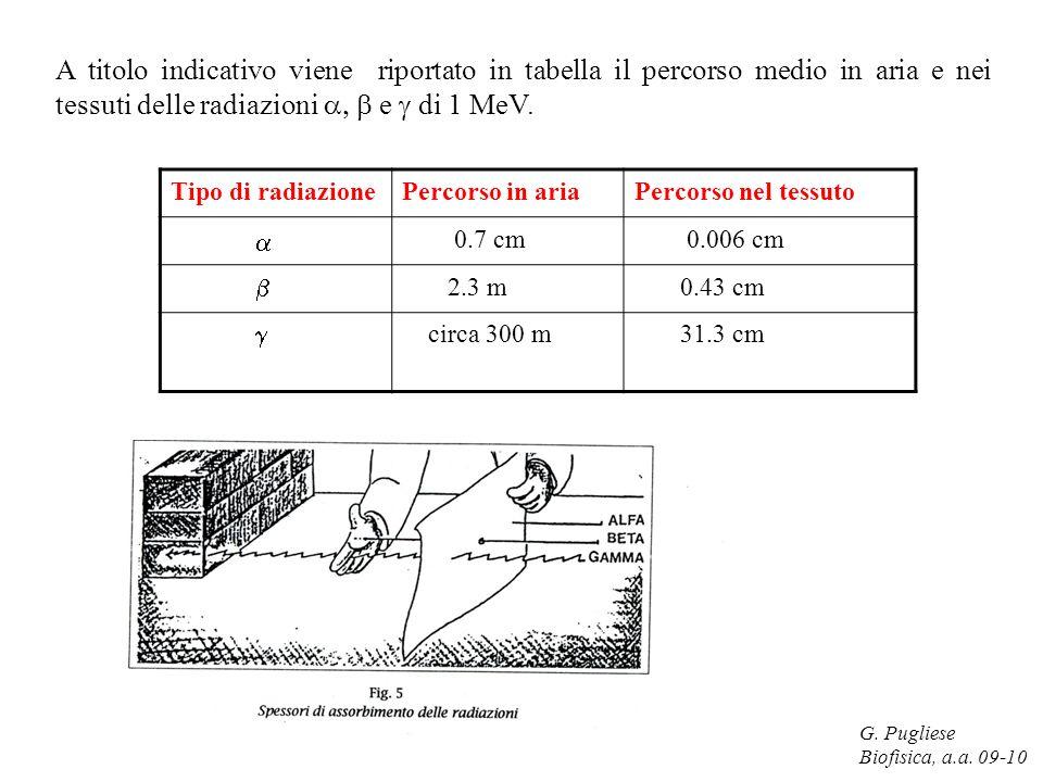G. Pugliese Biofisica, a.a. 09-10 A titolo indicativo viene riportato in tabella il percorso medio in aria e nei tessuti delle radiazioni e di 1 MeV.