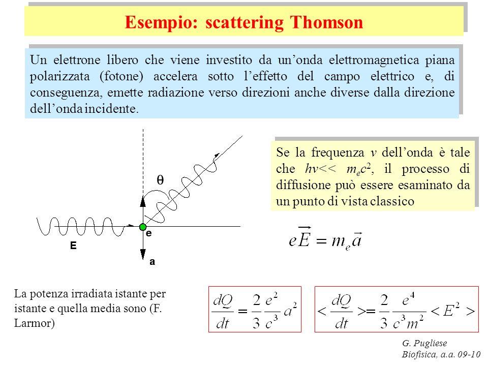 G. Pugliese Biofisica, a.a. 09-10 Esempio: scattering Thomson Un elettrone libero che viene investito da unonda elettromagnetica piana polarizzata (fo