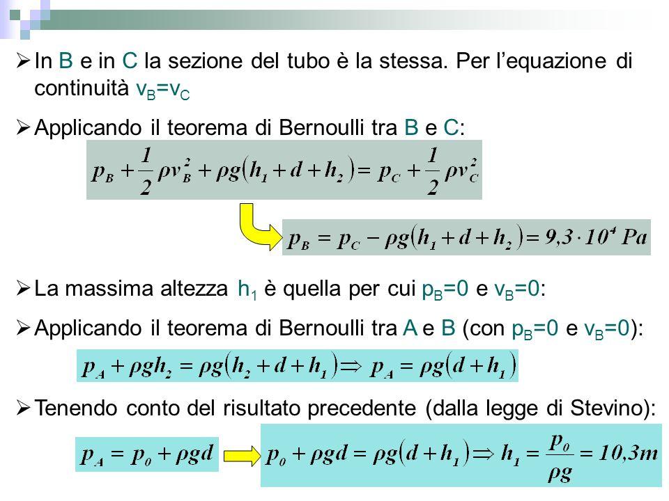 In B e in C la sezione del tubo è la stessa. Per lequazione di continuità v B =v C Applicando il teorema di Bernoulli tra B e C: La massima altezza h