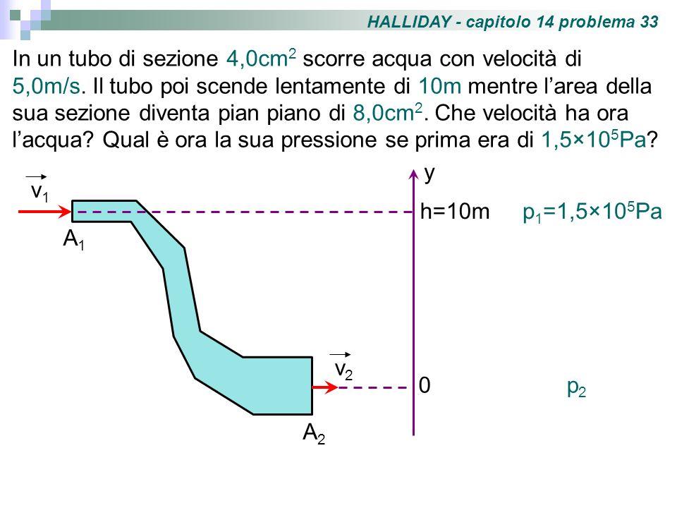 HALLIDAY - capitolo 14 problema 33 In un tubo di sezione 4,0cm 2 scorre acqua con velocità di 5,0m/s. Il tubo poi scende lentamente di 10m mentre lare