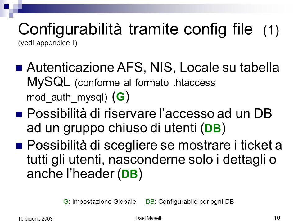Dael Maselli10 10 giugno 2003 Configurabilità tramite config file (1) (vedi appendice I) Autenticazione AFS, NIS, Locale su tabella MySQL (conforme al formato.htaccess mod_auth_mysql) ( G ) Possibilità di riservare laccesso ad un DB ad un gruppo chiuso di utenti ( DB ) Possibilità di scegliere se mostrare i ticket a tutti gli utenti, nasconderne solo i dettagli o anche lheader ( DB ) G: Impostazione Globale DB: Configurabile per ogni DB