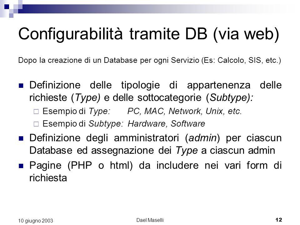 Dael Maselli12 10 giugno 2003 Dopo la creazione di un Database per ogni Servizio (Es: Calcolo, SIS, etc.) Definizione delle tipologie di appartenenza delle richieste (Type) e delle sottocategorie (Subtype): Esempio di Type: PC, MAC, Network, Unix, etc.