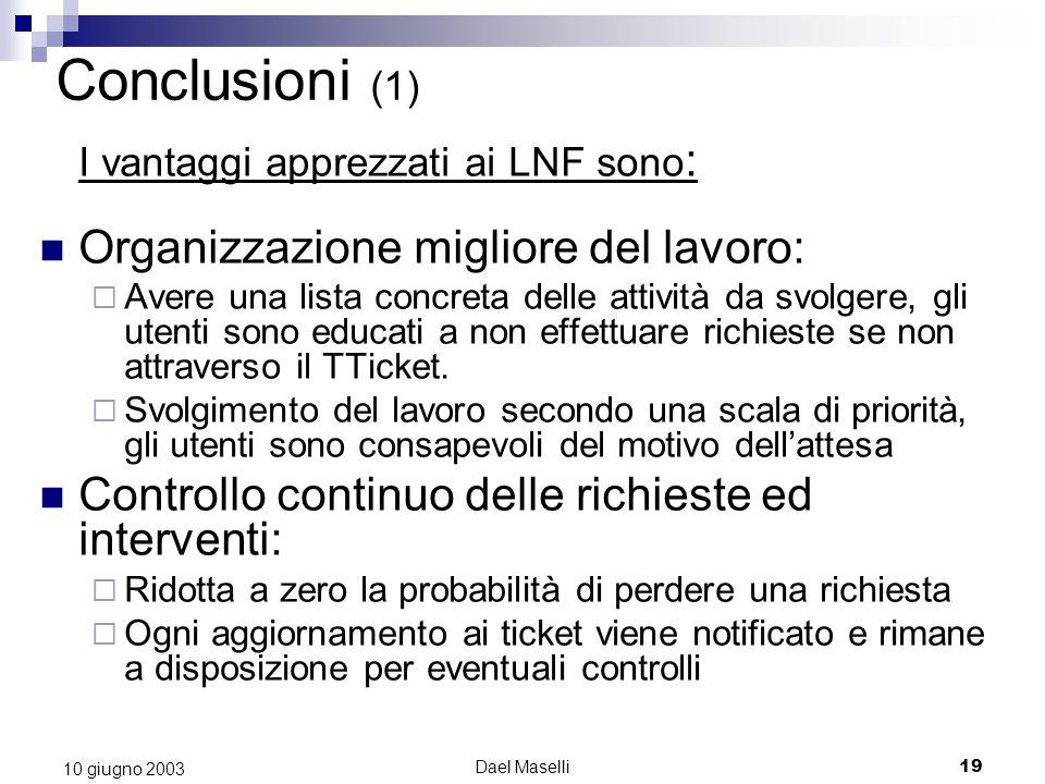 Dael Maselli19 10 giugno 2003 Conclusioni (1) I vantaggi apprezzati ai LNF sono : Organizzazione migliore del lavoro: Avere una lista concreta delle attività da svolgere, gli utenti sono educati a non effettuare richieste se non attraverso il TTicket.